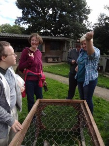 Kay, Ben, Jane and James admiring the guinea pigs