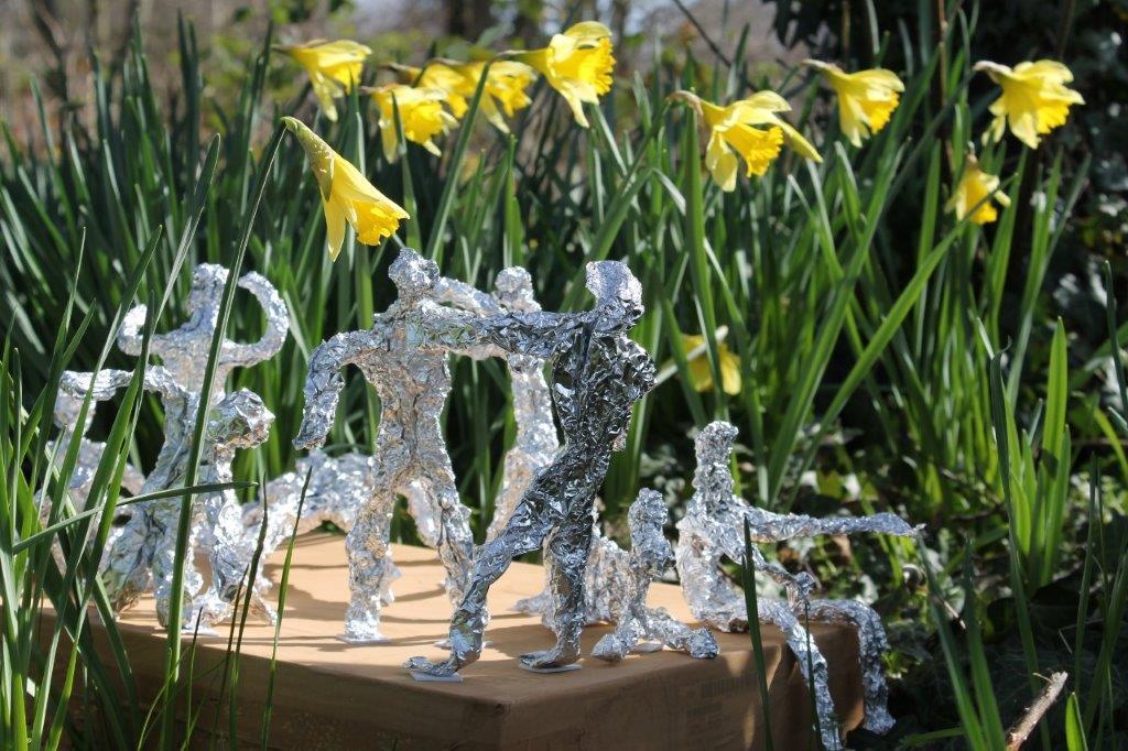 Silver foill sculptures 2