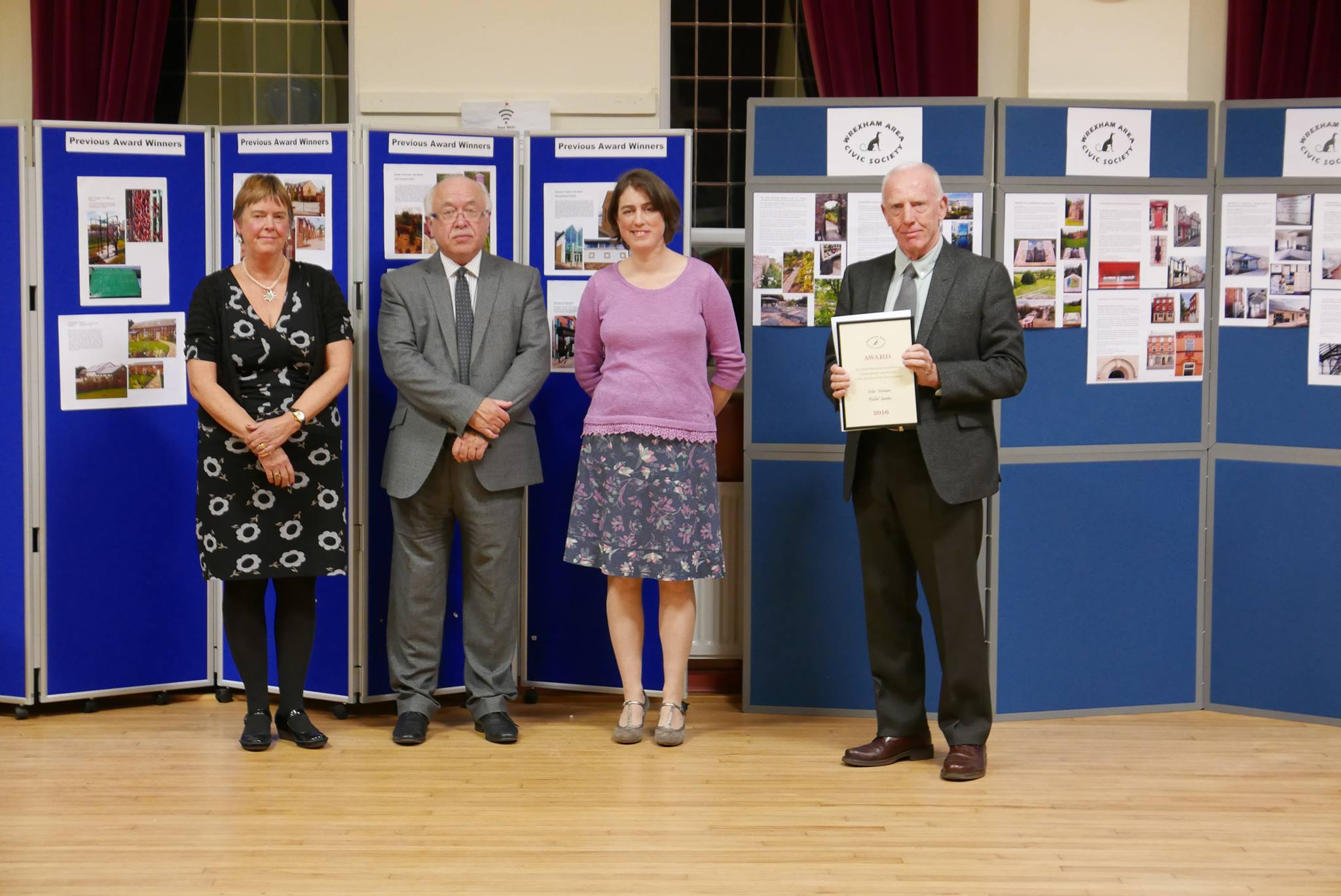 Ann, Libby and Geoff recieving the Ruth Howarth Award at the Wrexham Civic Society on Friday18th November